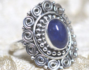Tanzanite Sterling Silver Ring Size 9 Minus