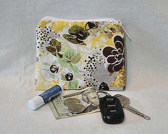 Coin Purse, Make Up Bag, Floral Coin Purse, Yellow, Change Purse, Fabric Purse