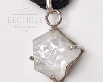 Apophillite Pyramid Crystal Silver Necklace