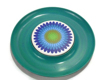 Vintage Round Serving Tray * Turquoise Blue Gold * Mod Flower Power Ceramic Tile Inlay in Plastic