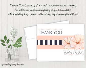 Thank You Cards, Thank You Notes, Thank You Stationery, Birthday, Bridal, Baby Shower, Digital, Printable TY604