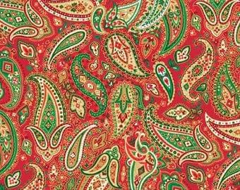 Traditional Metallic Christmas, Red Paisley from Andover Fabrics.