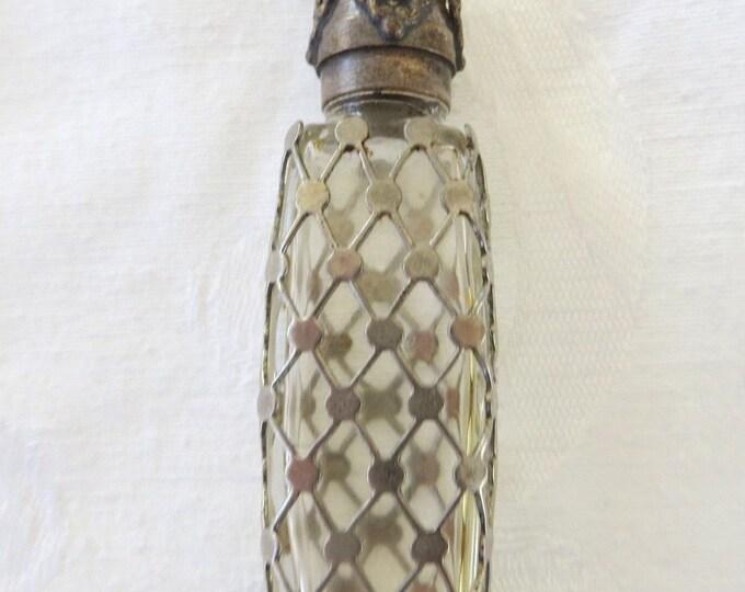 Sterling Overlay Perfume Bottle, Brass Filigree Lid, Mini Perfume, Vintage Vanity Bottle