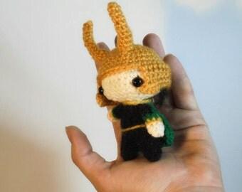 Tiny chibi LOKI LAUFEYSON - amigurumi Tom Hiddleston character - fandom toy - geek/nerd gift