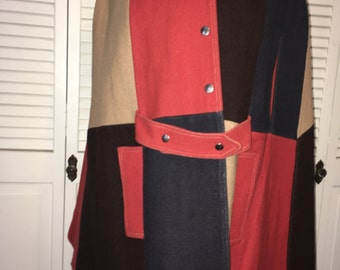 Vintage 1960s multicolor cape coat wool/brown/red/blue/tan