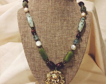 """Whimsical lion charm and natural gemstones necklace """"Roar"""""""