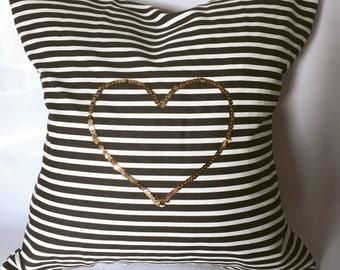 Sequin Heart Pillow| gold sequin pillow| Valentines decor| sequin pillow| gift for her| decor pillows| sequin heart pillow| valentines gift