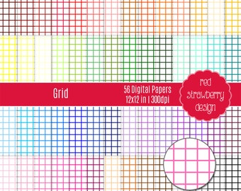 75% OFF Sale - 56 Digital Papers - Grid - Instant Download - JPG 12x12 (DP184)