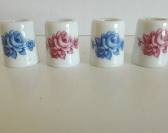 4 Vintage Small Porcelain West Germany Candle Holders Roses CL25-23