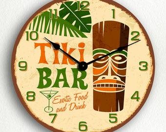 Tiki Bar Retro Tropical Polynesian Themed Silent Wall Clock
