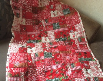Christmas Quilt, Christmas Quilts, Patchwork Quilt, Christmas Patchwork Quilt, Quilt Christmas, Christmas Bedding, Christmas Blanket,