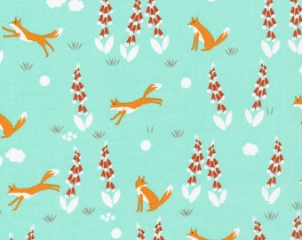 Foxglove Collection - Cloud 9 Organic Cotton -Fox in the Foxgloves Turquoise - Fabric by the Yard
