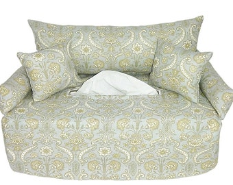 Grey handkerchief sofa - with floral - fabric tissue box cover