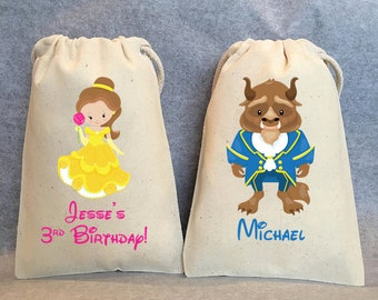 "8- Beauty and the Beast Party, Beauty and the Beast Birthday, Belle, Beast, Beauty and the Beast party favor bags, 4""x6"""