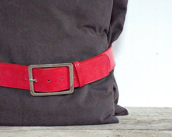 RED WOMEN'S BELT - vintage pants dressed skirt red faux leather women belt, shining buckle, womens fashion, women lady's clothing accessory
