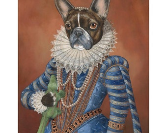 French Bulldog, Canvas Prints, Frenchie, Miss Chloe, Dog Novelty Gift, Dog in Costume