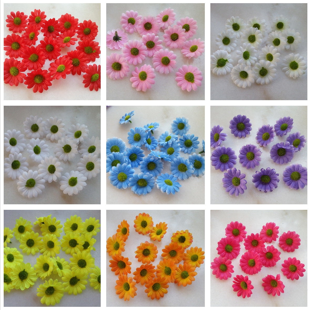 Flower heads for crafts - Wholesale Flowers Mini Gerbera Daisy Flower Heads 4cm Silk Daisy Mini Flowers 50pcs Diy Crafts For Hair Clips Hats Clothes