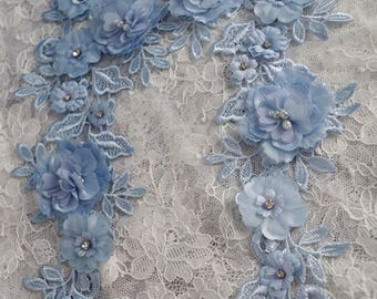 2pcs blue lace applique, 3D heavy bead lace applique with rosette, 3D flowers lace applique, beaded flower lace applique