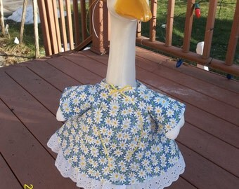 Goose Dress - White Flowers on Blue Background