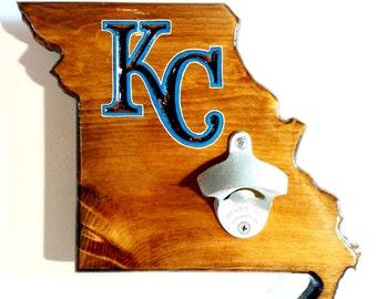 KC Royals Wall-Mounted Wooden Bottle Opener