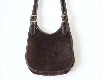 Vintage COACH Suede Leather Saddle Bag/ Coach Brown Flap Hippie Crescent Purse/ Bonnie Cashin Coach Handbag/ Made in NYC 080415