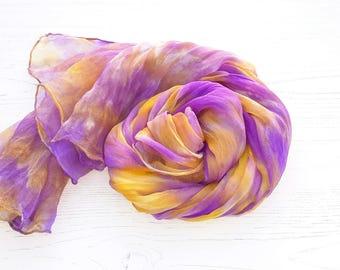 Purple silk scarf   hand dyed silk chiffon scarf   orchid purple   golden yellow
