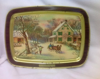 Vintage Currier & Ives American Homestead Winter 1868 ~ Metal Serving Tray ~ Horse Drawn Sleigh Passing Snowy Farm Scene