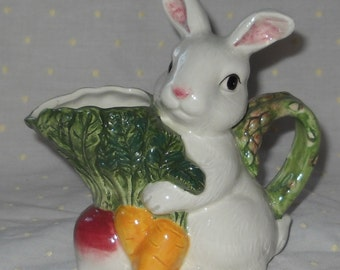 Omnibus by Fitz & Floyd Bunny Rabbit with Vegetables Cream Pitcher