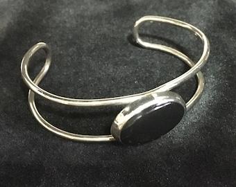 Vintage Onyx and Steel Cuff Bracelet    (ABX1G)