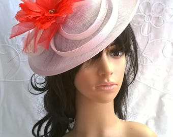 White  Fascinator..Stunning  Fascinator ..Sinamay disc style  with red feather flower