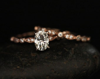 Wedding Ring Set with Moissanite Oval Engagement Ring with 7x5mm Classic Moissanite and Diamond Milgrain Band in 14k Rose Gold