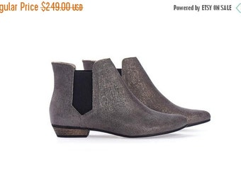 ON SALE Ellie Silver Leather Ankle boots with stretch side panel  by Tamar Shalem