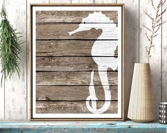 Seahorse Wall Decor Art - Beach Wall Art, Rustic Nautical Wall decor, Sea Life art Nautical Nursery Art Nautical Bathroom Decor, Coastal Art