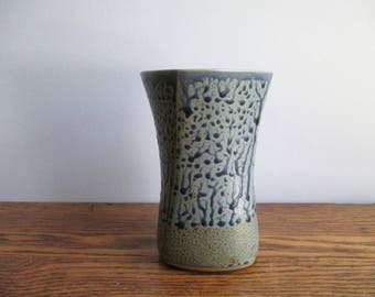 Vintage Twisted Blue and Gray Ceramic Vase