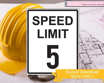 Speed Limit Five Printable Sign - Speed Limit 5 Printable Construction Party Sign - Speed Limit Printable Sign - 5 - Instant Download
