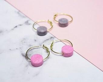 Pink||Grey Marbled Disc Hoop Earrings // statement earrings // gold tone plated metal or hypoallergenic stainless steel hoops