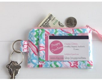 ID Wallet Keychain, Minimalist Wallet, Badge Holder Wallet, ID Holder Wallet,  Lilly Fabric