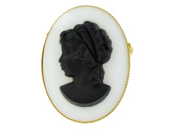 Black White Glass Cameo Pin Brooch or Pendant Upcycled Vintage Parts Convertible Jewelry Handmade