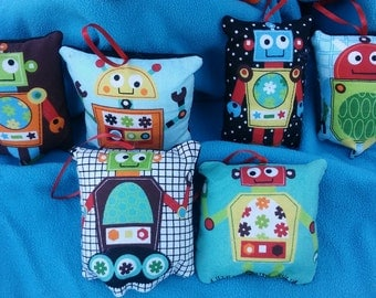Robot Pillow Ornaments  - Set of 6