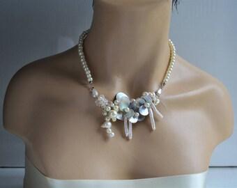 Wedding Pearl Necklace, Freshwater Pearl Necklace, Swarovski Pearls, Sea Shells, Ivory, Handmade, Wedding Jewelry, Bridal Jewelry
