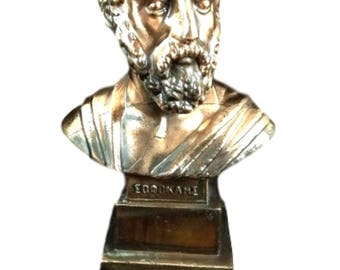 Greek Metame Bronze Bust of Aristotle Small Greek Sculpture Statue Made in Greece