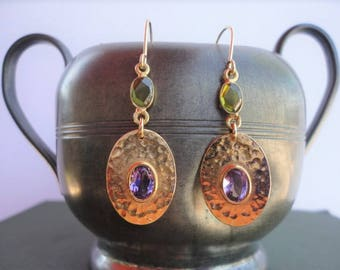 amethyst peridot earrings,  purple gold earrings, green gold earrings, gemstone gold, amethyst earring, peridot earring, gold plated earring