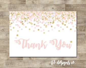 Pink and Gold Confetti thank you card, twinkle twinkle thank you, pink and gold thank you, pink, gold, T9