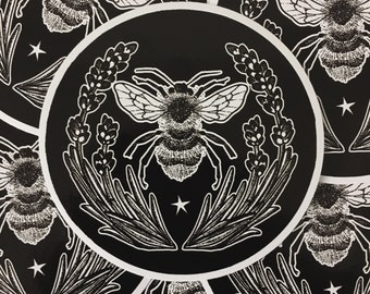 Lavender Bee Vinyl Sticker