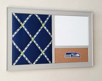 Seattle Seahawks Office Decor Desk Organizer with French Memo Board, Hand Painted Corkboard  & Whiteboard Dry Erase Cubicle Decor