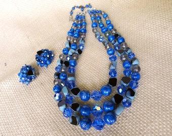 Art Glass Necklace, Vintage Fabiola, Necklace & Earrings, Demi Parure, Vintage Jewelry, Three Strand, Blue Black Beads, Handmade Necklace