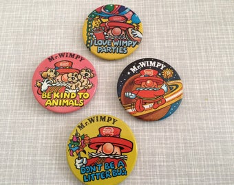 Set of 4 Wimpy badges