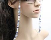 Eyeglass Holder, Beaded eyeglass chain, Blue and White / Cadena Para Colgar Lentes, cadena para gafas / Accesorios para Lentes
