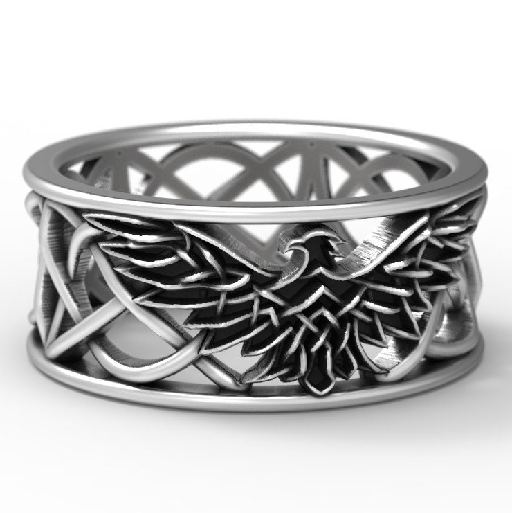 mens celtic knot wedding bands. sterling silver celtic eagle ring, wedding band, mens irish wedding, jewelry, knot custom size 1138 bands i