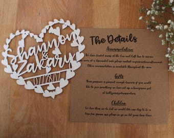 White Wedding Invitation Invite Laser Cut Heart Handwritten